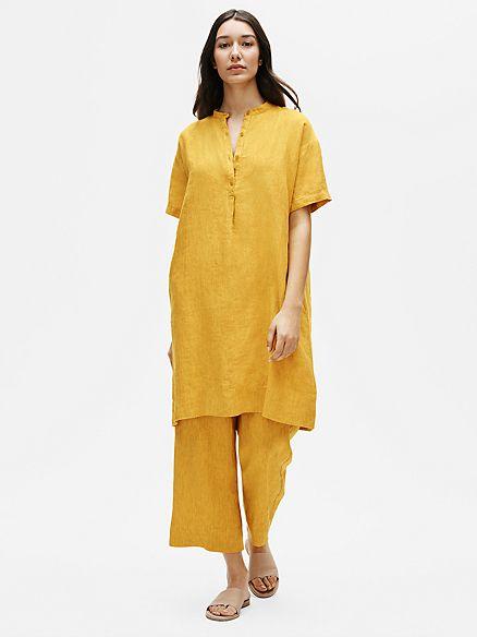 Washed Organic Linen Delave Mandarin Collar Shirtdress In 2020 Eileen Fisher Style Organic Linens Shirt Dress Style