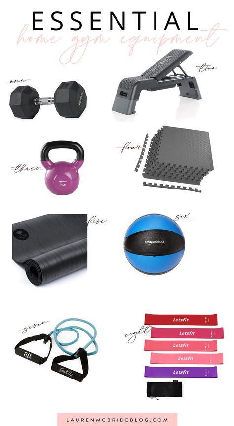 Essential Home Gym Equipment - Lauren McBride Home Gym Garage, Gym Room At Home, Workout Room Home, Workout Rooms, At Home Workouts, Yoga Workouts, Home Gym Equipment, No Equipment Workout, Workout Gear