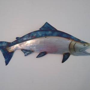 Salmon Wall Art Stainless Steel Etsy Wall Art Art Three Dimensional Shapes