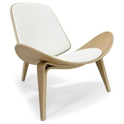 Chicago Classic Modern Chair In White And Oak Upholstered Chairs