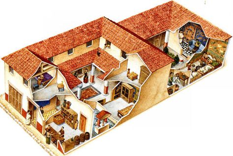 Roman Domus With Tabernae Retail Trade Ilustrations And Reconstructions Ancient Architecture Roman Empire Rome
