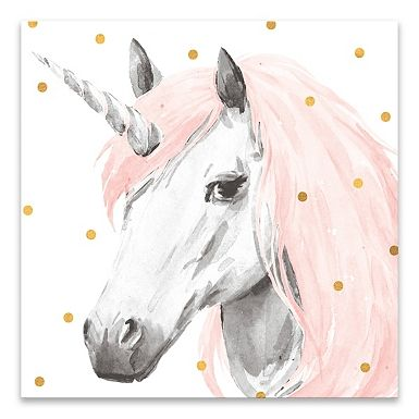 Add A Touch Of Magical Fun To Your Kid S Room With Our Pink Unicorn Canvas Art Print The Watercolor Design And Pops Of Co Einhorn Kunst Einhorn Malen Aquarell