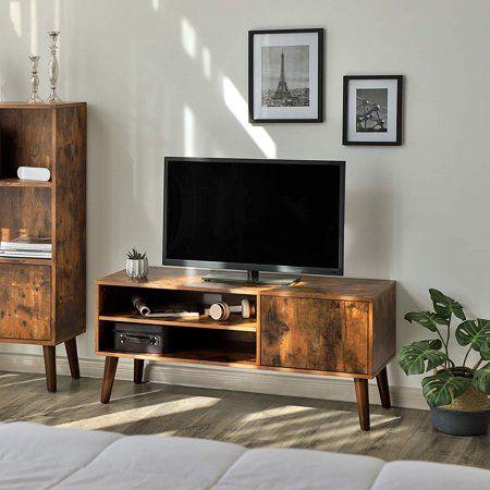 Vasagle Retro Mid Century Modern Tv Stand Walmart Com Retro Tv Stand Wooden Tv Stands Living Room Entertainment