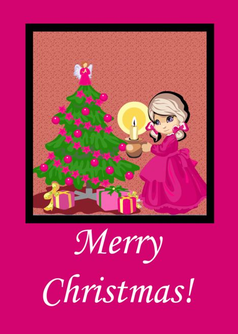 Cute Girl Pink Ribbons Christmas Card Ad Sponsored Pink Girl Cute Card Christmas Cards Engagement Invitation Template Cards