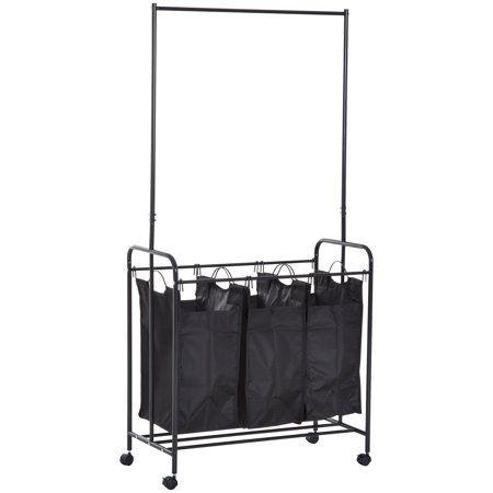 Homcom 3 Bag Heavy Duty Rolling Laundry Hamper Sorter Cart With Wheels And Hanging Bar Black Walmart Com With Images Laundry Hamper Divided Laundry Hamper Bag Heavy
