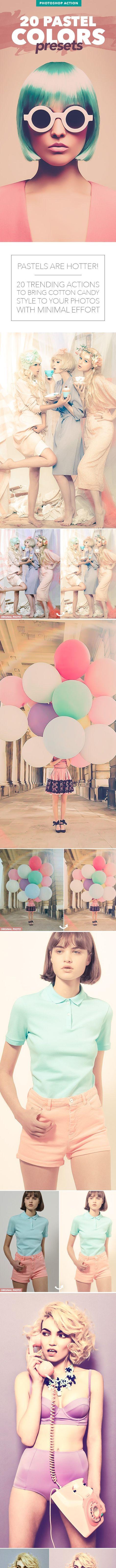 20 Pastel Colors Presets - Photoshop Action