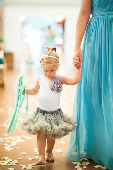 flower girl. gray flower girl. aqua mint ombre wedding
