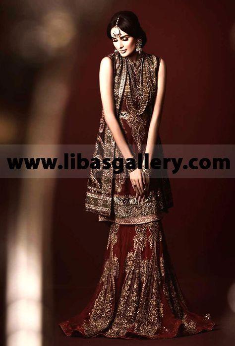 401d3a5d62 Hassan Sheheryar Yasin Bridal Collection 2014 at PBCW Hassan Sheheryar Yasin  Hot Maroon Anarkali Bridal at
