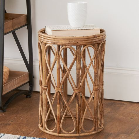 With bohemian elements and a natural feel, our Curvy Cane Side Table will elevate the free spirit in your living room.  The mixed tones of dark and light rattan add depth to this fun piece! Side Table Decor, Rattan Side Table, Table Decorations, Nursery Side Table, Dining Chair, Moroccan Side Table, Side Table Styling, Side Tables Bedroom, Rattan Coffee Table
