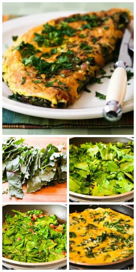 This Red Kale and Cheese Omelet for Two is a Deliciously Healthy Low Carb way to start out the day.  If you can't find red kale, just use regular kale instead. [from KalynsKitchen.com] #LowCarb #HealthyBreakfast