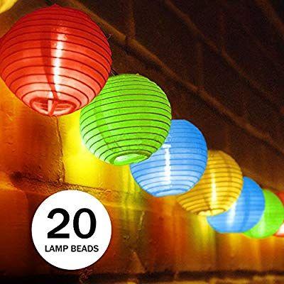 Amazon De Ubegood Solar Lichterkette Bunt Lampion 20 Led Laterne Wasserdichte Gartenbeleuchtung Led Laterne Solar Lichterkette Lichterkette