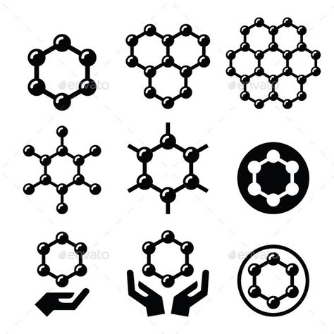 Carbone Graphene Structure Vector Icons Set