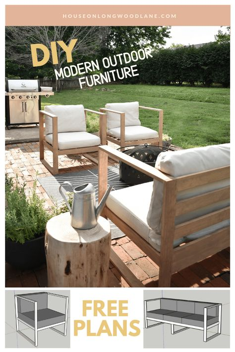 DIY Modern Outdoor Chairs, Budget friendly DIY furniture, Mini Patio Makeover outdoor sofa DIY Modern Outdoor Chairs - House On Longwood Lane Modern Outdoor Furniture, Garden Furniture, Outdoor Decor, Outdoor Couch, Rustic Furniture, Furniture Layout, Diy Home Furniture, Antique Furniture, Diy Exterior Furniture