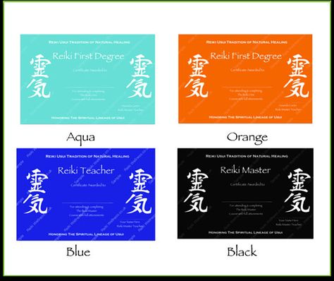 Reiki Certificates Templates x4 Coloured Kanji Complete Reiki - degree templates