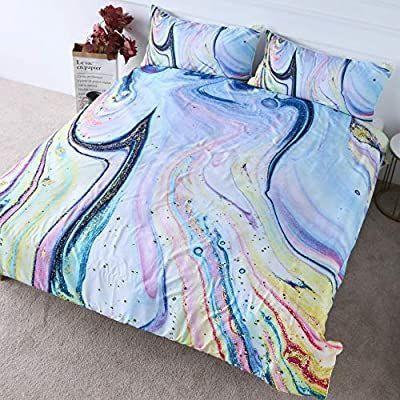 Marble Gold and Light Blue Quicksand Design 3 Piece Duvet Set