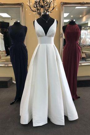 Abiti Eleganti Bianchi.White V Neck Satin Long Prom Dress White Evening Dress Nel 2020