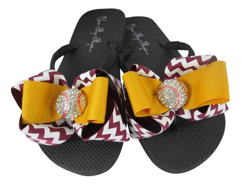 1b13e10972b4ac Maroon   Gold Chevron Baseball bow flip flop sandals with bling for ladies  and girls baseball team moms by BowFlipFlops