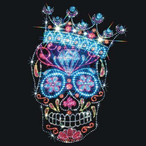 Rhinestone Sugar Skull Shirt/ Crown Sugar Skull Dia De Los Muertos Skull Women's Shirt/ Day Of The D