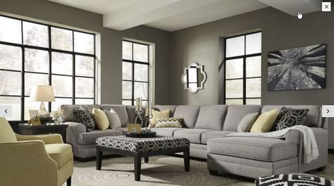 Ashley Cresson Pewter RAF Large Chaise Sectional | Cuddler ...