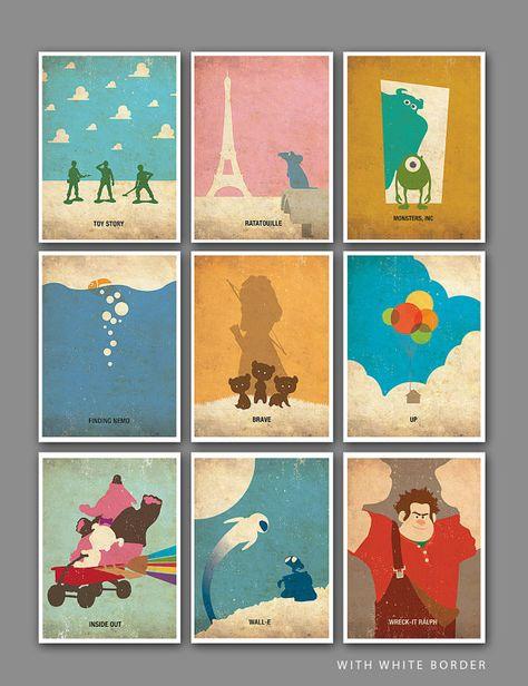 Pixar Vintage Minimalist Poster Set of 9 Art Prints