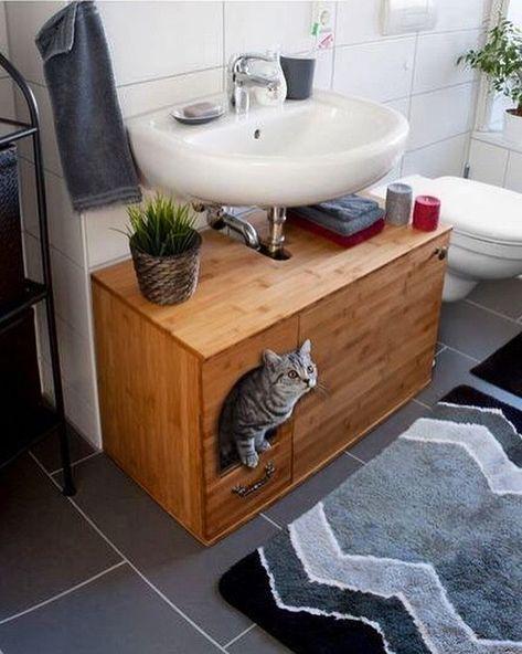 """Ideias Diferentes on Instagram: """"O que vocês acham desses móveis para colocar a caixa de areia dos bichanos? 🐱 Uma ótima solução já que eles amam um banheiro né? Hahaha…"""""""