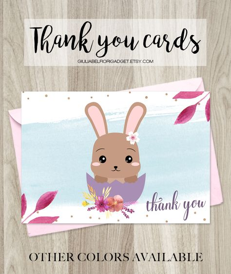 Easter thank you card with a cute bunny! You can use it for your Easter parties or to thank your customers! #thankyoucard #eastercard
