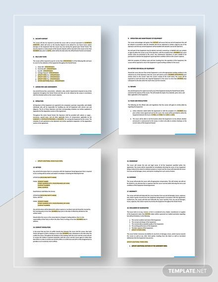 Equipment Rental Agreement Template Free Pdf Word Apple Pages Google Docs Rental Agreement Templates Contract Template Templates