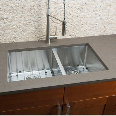 Hahn 32 L X 19 W Double Bowl Kitchen Sink Double Bowl Sink