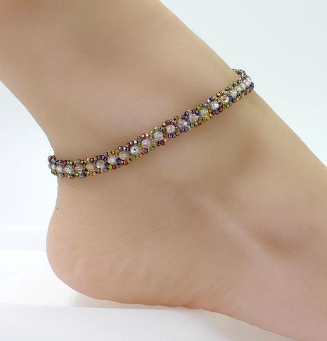 Handmade ZIRCON green And Crystal Ab Flower Sterling Silver Spacers Anklet