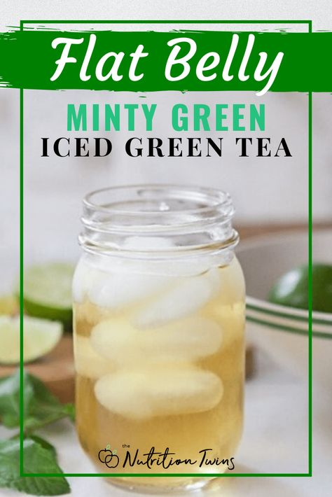 Flat Belly Minty Green Iced Green Tea Recipe | Try this easy bloat remedy to flush bloat fast and get a flat belly. Weight loss tea recipe when you replace sugary drinks. For MORE RECIPES, fitness  nutrition tips please SIGN UP for our FREE NEWSLETTER www.NutritionTwins.com