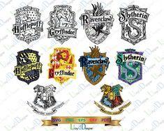 Hogwarts House Shield Bundle Gryffindor Slytherin Ravenclaw Hufflepuff SVG Harry Potter SVG for Vinyl Decal Vacation Harry Potter Shirt