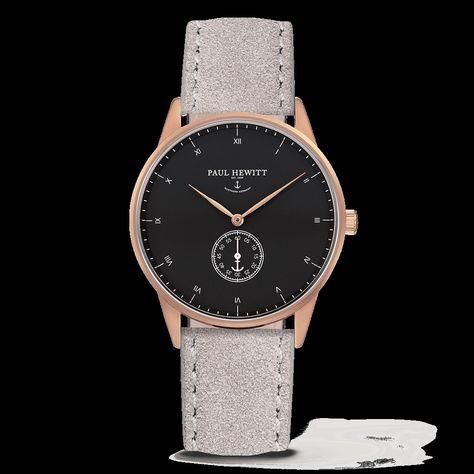 Paul Hewitt Signature Line Watch Rose Gold Mark I Black Sea Suede Grey Wildleder Uhr Rosegold Uhren