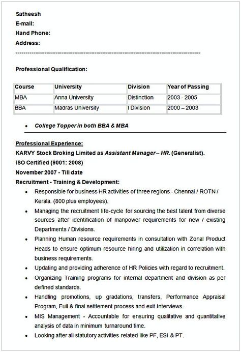 Assistant Manager HR Resume Example , HR Manager Resume Sample - hr resume examples