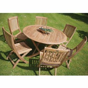 Round Wooden Garden Table And 6 Chairs | Teak Patio Table, Wooden Garden Table, Wooden Garden Chairs