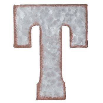 Galvanized Metal Letter Wall Decor T Metal Wall Letters