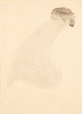 Auguste Rodin (1840-1917) | Femme nue assise sur les talons, de profil à droite, les mains sur les cuisses | late 19th Century, Drawings & Watercolors | Christie's