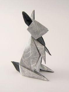 Origami Rabbit by Hideo Komatsu, folded by Gilad Aharoni  #aharoni #folded #gilad #hideo #komatsu #origami #rabbit