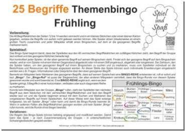 25 Begriffe Themenbingo Fruhling Mit Bildern Bingo Bingo Spiele Bingo Vorlage
