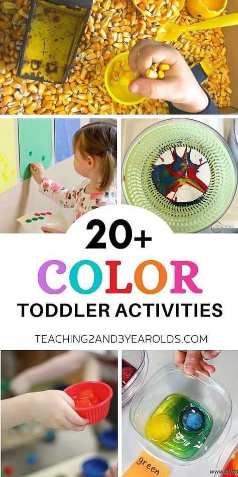 It's easy to teach toddlers colors while they explore! This collection includes 20 easy and fun activities that invite young children to learn about colors in a hands-on way. #colors #colorecognition #toddlers #toddleractivity #toddlercolors #toddlercoloractivities #toddlerideas #AGE2 #teaching2and3yearolds