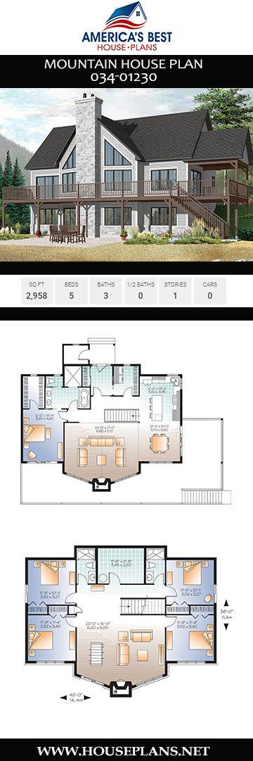 House Plan 034 01230 Mountain Plan 2 958 Square Feet 5 Bedrooms 3 Bathrooms In 2021 Mountain House Plans House Plans Floor Plans Open concept mountain house plans