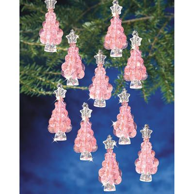 """Holiday Beaded Ornament Kit - Mini Pink Trees, 2-1/4"""" Makes, 12    In Stock    SKU: 229728 / MFG #: BOK-3062          List Price:$9.99      You Save:$1.50 (15%)      Sale Price:$8.49"""