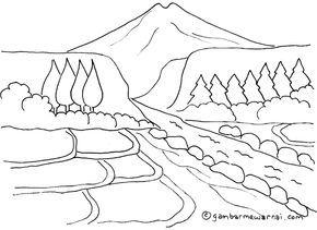 Mewarnai Gambar Pemandangan Gunung Dan Sawah Gambar Pemandangan Buku Mewarnai