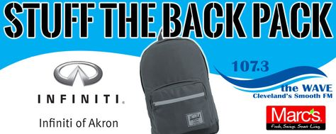 Stuff the Backpack - Join the Wave from 2p-7p on July 22nd at our studios at 6133 Rockside Road Suite 2 in Independence OH for food, live music and fun and stuff the backpacks for kids in need in our community!  Everyone who brings supplies will be registered to win prizes.  Forgot yours?  We have some here onsite for sale thanks to Infiniti of Akron!  #event #charity #kids #school #backpack #northeastohio