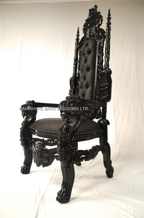 The throne uses Gothic and Medieval influences in its carvings with heraldic displays and massive Lions heads on each arm. Description from hampshirebarninteriors.co.uk. I searched for this on bing.com/images