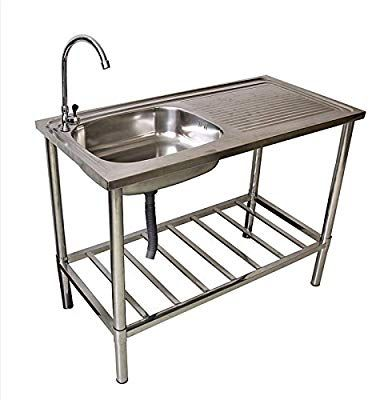 Bathing Stainless Steel Camping Kitchen Washbasin Hose Connection Mobile Sink Stainless Steel Table Wash Basin Outdoor Kitchen Sink