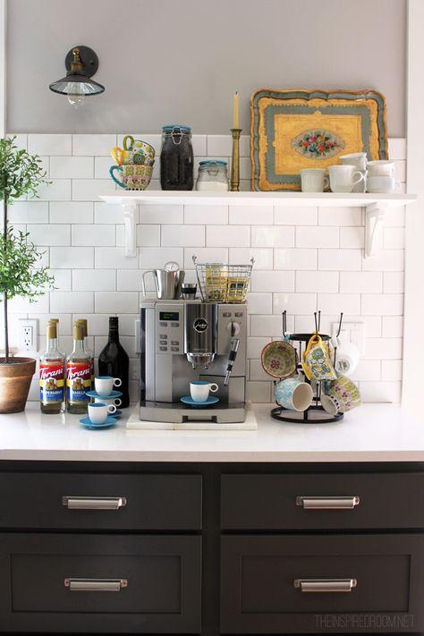 coffee-bar. love the mug tree with pretty cups.