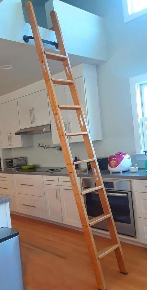 This Is A Removable Loft Ladder Or Library Ladder For The Interior Of A Home With A Lighter Design Ideal For Shipping Re Loft Ladder Stairs Design Loft Stairs