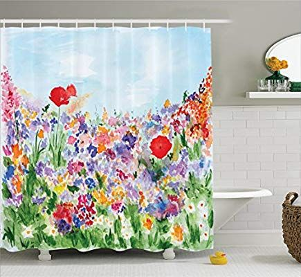 Amazon Com Ambesonne Watercolor Flower Decor Shower Curtain