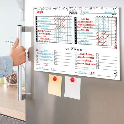 Magnetic Multiple Child Chore Chart - Mid Mod - 18