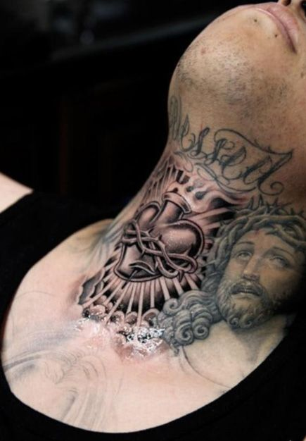 200 Sacred Heart Tattoo Designs For Men And Women Update 2020 Front Neck Tattoo Sacred Heart Tattoos Neck Tattoo For Guys